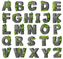 Alfabetos ingleses com blocos de pedra vetor