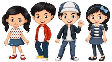 Quatro crianças asiáticas com cara feliz