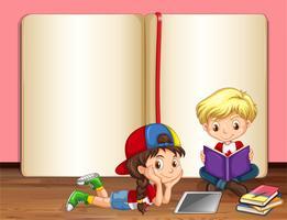 Menino menina, leitura, livros vetor
