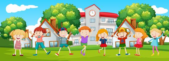Feliz, crianças, em, escola, cena vetor