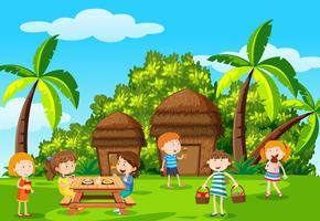 Piquenique infantil no parque vetor