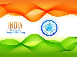 design de bandeira dia república indiana feita com onda tricolor vetor