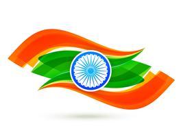 design de bandeira indiana com estilo de onda no tricolor vetor