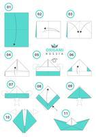Navio de origami. Origami de papel DIY.