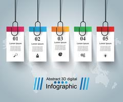 Ilustração digital 3D infográfico. Pin, ícone de clipe.