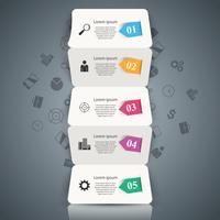 Cinco infográfico de origami de negócios de papel.