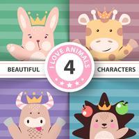 Conjunto de desenhos animados animais - coelho, girafa, vaca, ouriço