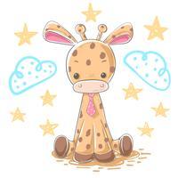 Ilustração do girafa dos desenhos animados - personagens de banda desenhada. vetor