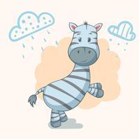 Teddy zebra - personagens animais fofos. Idéia para imprimir t-shirt.