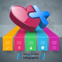 Ilustração digital 3D abstrata Infographic. Ícone de coração. vetor