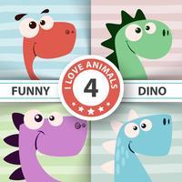 Ilustração de dinossauro fofo. Quatro itens. vetor