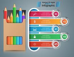 Infográfico de educação de negócios. Ícone de lápis.