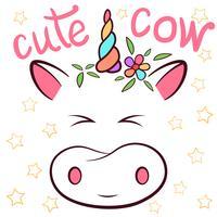 Vaca bonita, personagens de cowicorn. Idéia para imprimir t-shirt.