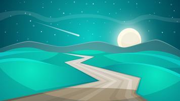Paisagem de noite dos desenhos animados. Lua e nuvem. vetor