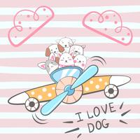 Personagens de cão dos desenhos animados. Ilustração de avião. vetor