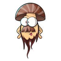 Cogumelo dos desenhos animados com barba vetor