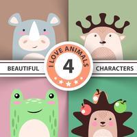 Conjunto de animais dos desenhos animados - rinoceronte, veado, sapo, ouriço vetor