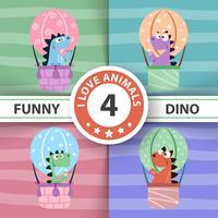 Ilustração engraçada do balão de ar de Dino.