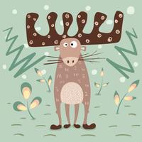 Amor dos cervos da peluche - ilustração engraçada dos desenhos animados. vetor