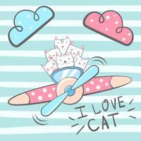 Gato de desenho animado, personagens de gatinho. Ilustração de avião. vetor