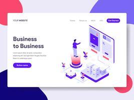 Molde da página da aterrissagem do conceito da ilustração ao negócio. Conceito de design plano isométrico de design de página da web para o site e site móvel.