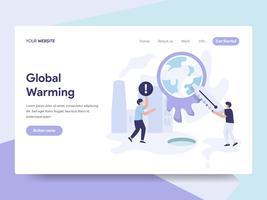 Molde da página da aterrissagem do conceito da ilustração do aquecimento global. Conceito de design plano isométrico de design de página da web para o site e site móvel.