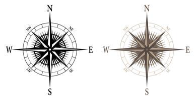 Bússola, ilustração vetorial isolado em versões preto e cor vetor