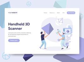 Molde da página da aterrissagem do conceito Handheld da ilustração do varredor 3D. Conceito de design plano isométrico de design de página da web para o site e site móvel.