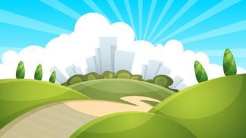 Paisagem, cidade, nuvem, sol. vetor