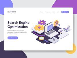 Modelo da página da aterrissagem do conceito da ilustração da otimização do Search Engine. Conceito de design plano isométrico de design de página da web para o site e site móvel.