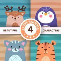 Conjunto de desenhos animados animais - veados, pinguim, gato, tigre vetor