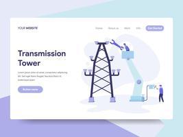 Molde da página da aterrissagem do conceito da ilustração da torre da transmissão. Conceito de design plano isométrico de design de página da web para o site e site móvel.