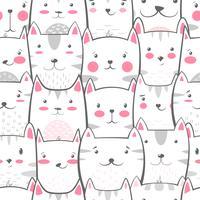 Gato, gatinho - padrão bonito, engraçado. vetor