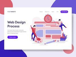 Modelo da página da aterrissagem do conceito da ilustração do processo de projeto do Web site. Conceito de design plano isométrico de design de página da web para o site e site móvel.