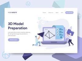 Molde da página da aterrissagem do conceito 3D da ilustração do modelo da impressão. Conceito de design plano isométrico de design de página da web para o site e site móvel.