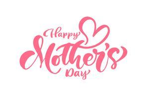 Texto de caligrafia vector rosa feliz dia das mães.