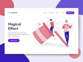 Molde da página da aterrissagem do conceito mágico da ilustração do efeito. Conceito de design plano isométrico de design de página da web para o site e site móvel.