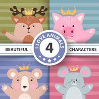Conjunto de desenhos animados animais - veado, porco, urso, rato. vetor