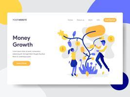Molde da página da aterrissagem do conceito da ilustração do crescimento de dinheiro da árvore. Conceito de design plano de design de página da web para o site e site móvel.