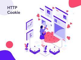 Ilustração isométrica de cookie HTTP. Estilo moderno design plano para site e site móvel. Ilustração vetorial vetor