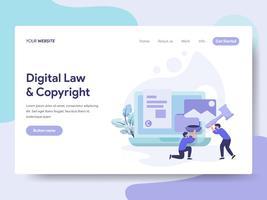 Molde da página da aterrissagem da lei de Digitas e do conceito da ilustração de Copyright. Conceito de design plano isométrico de design de página da web para o site e site móvel.