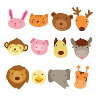 design de personagens de cabeça de animais vetor