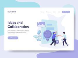 Modelo de página de aterrissagem de idéias e colaboração conceito ilustração. Conceito de design plano isométrico de design de página da web para o site e site móvel.