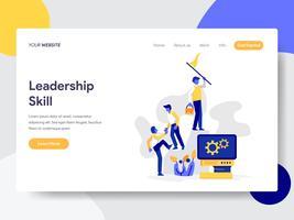 Modelo de página de aterrissagem do conceito de ilustração de habilidade de liderança. Conceito de design plano de design de página da web para o site e site móvel.