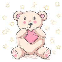 A panda de peluche bonito abraça o amor.