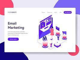 Molde da página da aterrissagem do conceito da ilustração do mercado do email. Conceito de design plano isométrico de design de página da web para o site e site móvel.