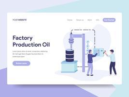 Molde da página da aterrissagem do conceito da ilustração do óleo da produção da fábrica. Conceito de design plano isométrico de design de página da web para o site e site móvel. vetor