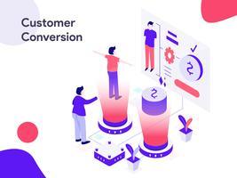 Ilustração isométrica de conversão de cliente. Estilo moderno design plano para site e site móvel. Ilustração vetorial
