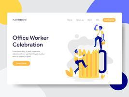 Molde da página da aterrissagem da celebração do trabalhador de escritório com conceito da ilustração da cerveja. Conceito de design plano de design de página da web para o site e site móvel. vetor