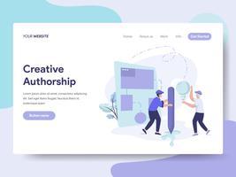 Modelo de página de aterrissagem do conceito de ilustração criativa de autoria. Conceito de design plano isométrico de design de página da web para o site e site móvel.